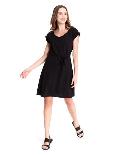 LC Waikiki Sırt Detaylı Pamuklu Elbise Siyah